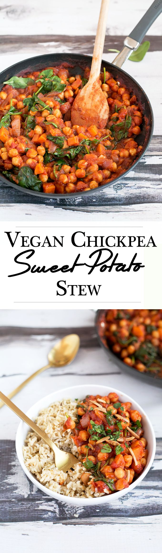 Spanish Chickpea and Sweet Potato Stew. Healthy, hearty, delicious and made in under 45 minutes. 100% Vegan.