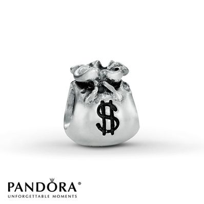 """This Pandora fashion jewelry """"Money Bags"""" charm is crafted in sterling silver. Style # 790332."""