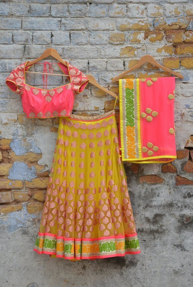 Amrita Mathur Neon Lehenga 2013 #amritamathur #neontrend2013 #bollywoodtrends #indianbrides