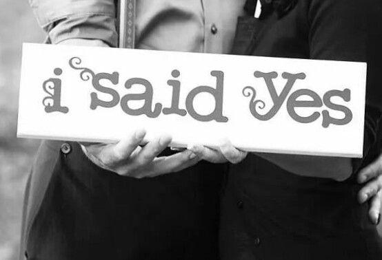 I said yes wooden sign Wedding ideas