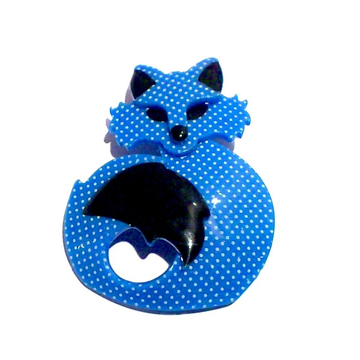 She's So Foxy Blue Polka Dot Brooch by Erstwilder