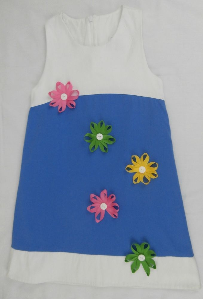 Peaches N Cream Spring Dress Blue White Colorful Ribbon Flowers Lined Size 7 #PeachesNCream #Dress #DressyEveryday