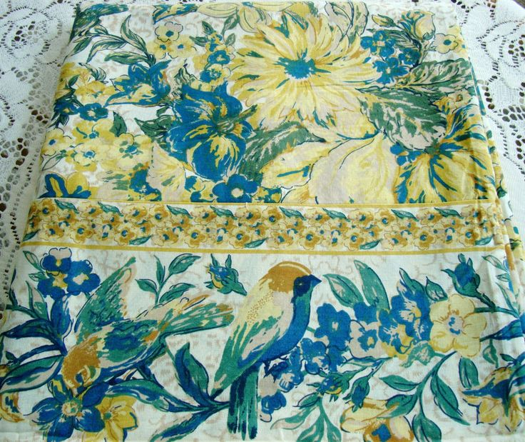 APRIL CORNELL OBLONG TABLECLOTH 60X104''GREEN BLUE YELLOW CREAM FLORAL BIRDS NEW #AprilCornell