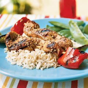 Isaac enjoys Japanese-style grilled specialties. This marinade would also pair nicely with salmon. Serve with sautéed snow peas.