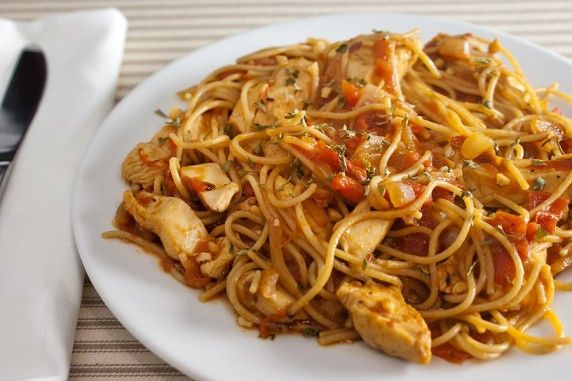 Chicken fra diavolo. A pasta dish with no cheese!