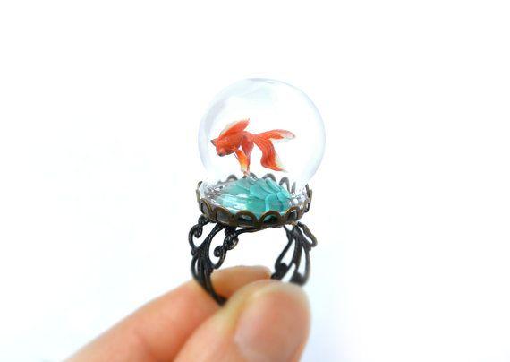 Terrarium ring with tiny goldfish. Miniature under glass by HoKiou