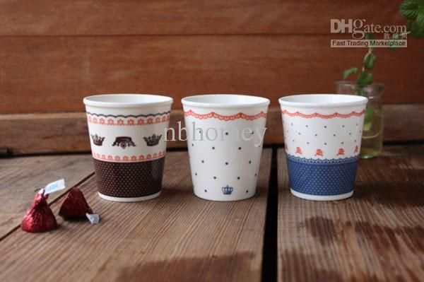 FREE SHIPPING!ZAKKA Style 3pcs/set Ceramic Breakfast Milk Mug Lace Pattern Painting Milk Cup Driking