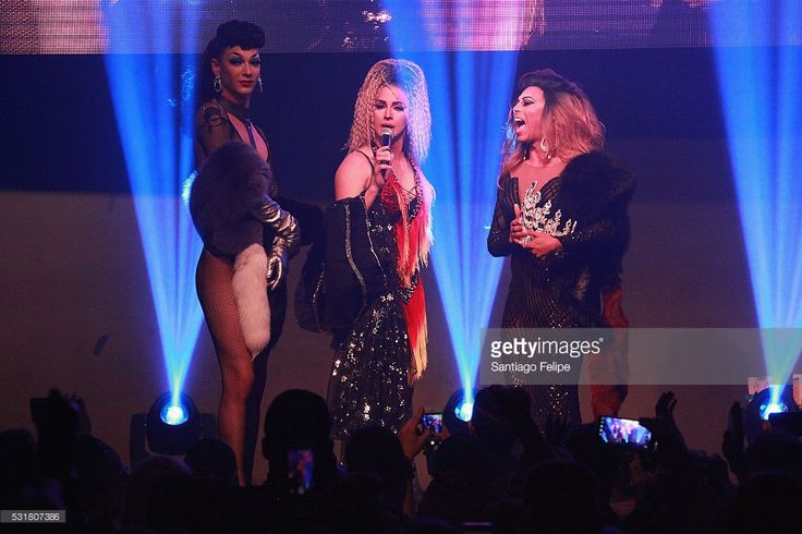 Cynthia Lee Fontaine (C) speaks on stage with Violet Chachki (L) and Shangela Laquifa Wadley during the RuPaul's Drag Race Season 8 Finale Party at Stage 48 on May 16, 2016 in New York City.