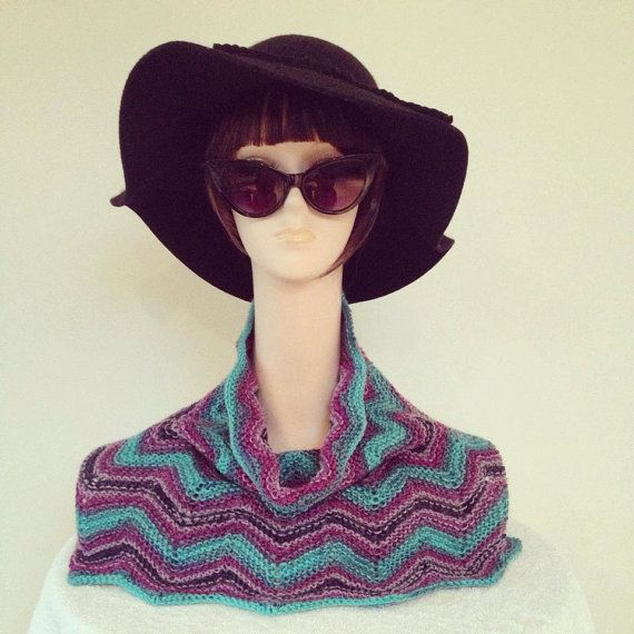 knitted neck warmer scarf pink turquoise poncho by justknitted1