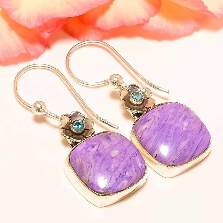 "Russian Charoite, Blue Topaz 925 Sterling Silver Jewelry Earring 1.58"" #Handmade #DropDangle"