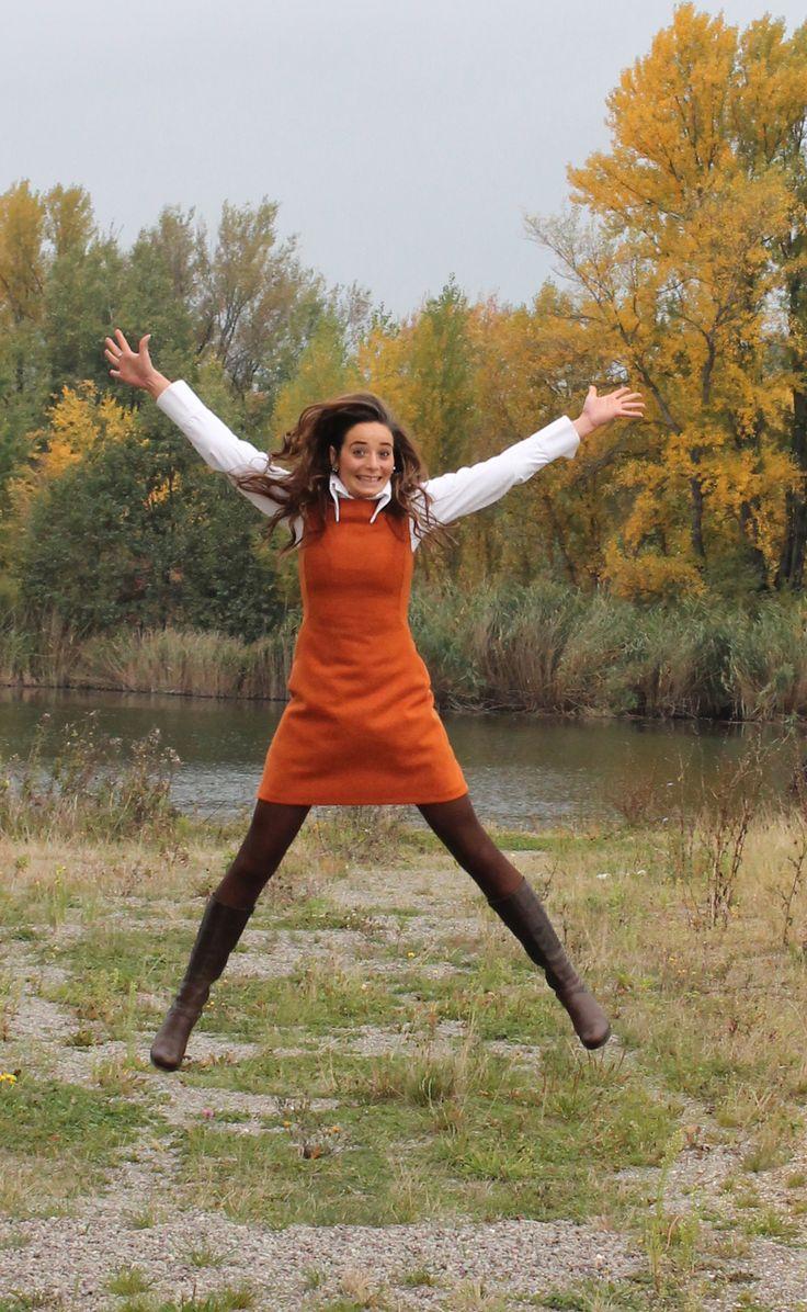 Etuikleid orange Wolle
