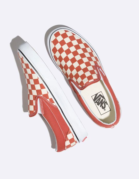 eb5cb98384495 VANS Checkerboard Classic Slip-On Hot Sauce & True White Womens Shoes