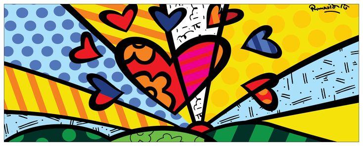 d92c515c8 Estampa Caneca Romero Brito - Corações | Estampas para Canecas | Canecas,  Estampas, Desenhos romero brito