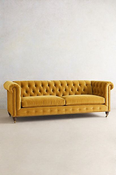 Velvet Lyre Chesterfield Sofa, Hickory - anthropologie.com Reminds me of mum and dad's beautiful chesterfield ...