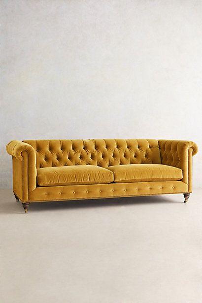Velvet Lyre Chesterfield Sofa, Hickory - anthropologie.com #anthrofave