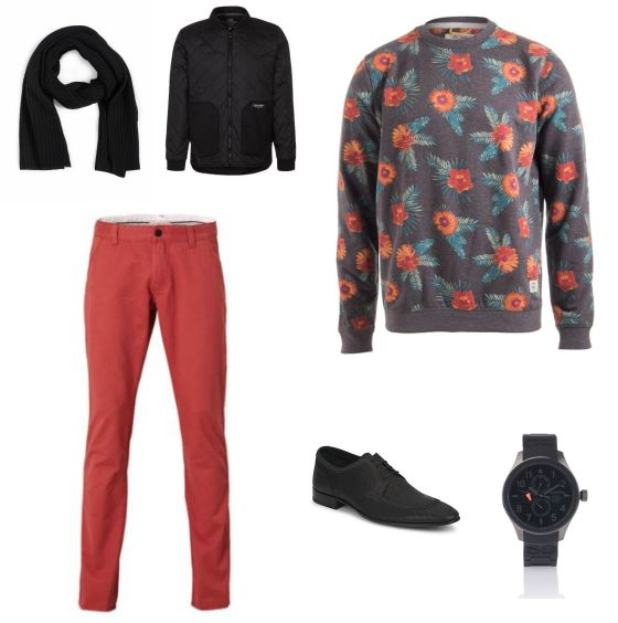 Bloemenprint Outfit outfit - Vrijetijdskleding - Bij deze look draait het allemaal om de trui met bloemenprint van Jack & jones. Door de trui te combineren met de broek van Selected homme en het zwarte jack van Jack & Jones ontstaaat een mooi geheel. De schoenen van Derby's, het horloge van Superdry en de sjaal van Selected maken de outfit af.