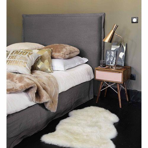 Funda de cabecero 140 de lino lavado gris antracita - Morphée