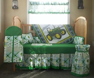 10 PC John Deere Green Plaid Baby Quilt Set Crib Nursery Bedding #3 | eBay