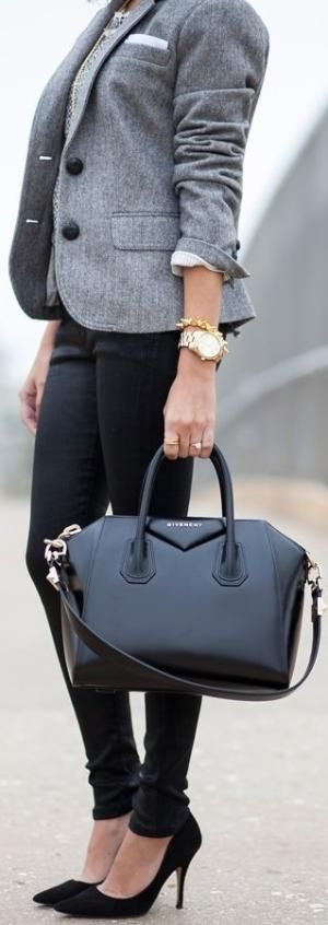 love the bag and the jacket. heels are nice too...