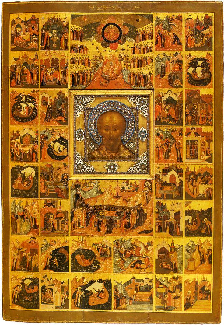 Николай Чудотворец в житии и чудесах Palekh Icon XVII в. — средник; середина XVIII в. — рама со сценами жития и чудес