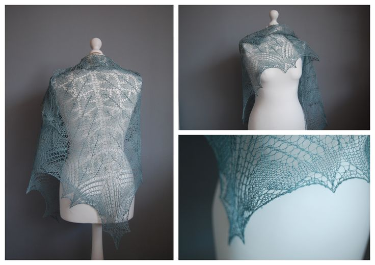 Lace shawl in green.