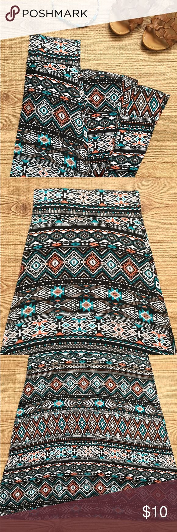 Tribal Maxi Skirt Lightweight tshirt material tribal maxi skirt. Size M, but in reality is a size Small. Limonata Skirts Maxi