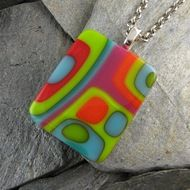 Bold Colorful Abstract Fused Glass Pendant