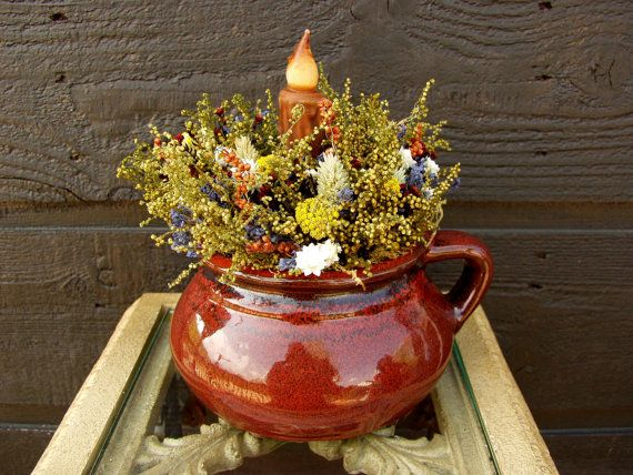 Primitive Red Soup Crock with Sweet Annie by SmokyMtnWoodcrafts, $39.00