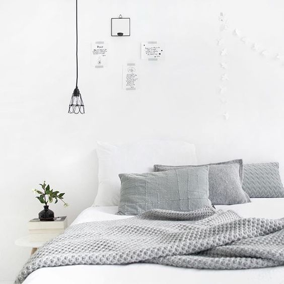 Light monochrome interiors; love the grey throw and cushions on the bed #bedroominteriors