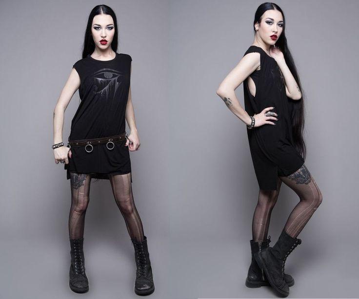 Widow BLACKEST BLACK TANK SHIRT gothic cyber steampunk punk vintage oversize