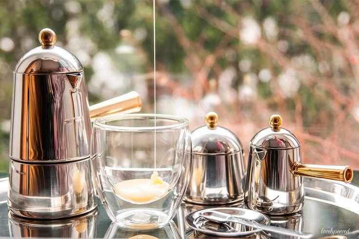 step 1. Carmencita Lavazza (stovetop, sugar bowl, creamer, tray) + bodum glass