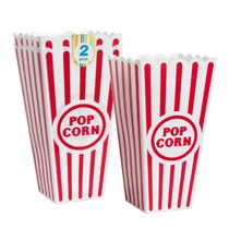 Plastic popcorn buckets from Dollar tree online 48ct for $48.00 http://www.dollartree.com/Summer-Toys/Picnic-and-Cookout-Supplies/2-Pk-Popcorn-Bowls/411c354c354p293874/index.pro