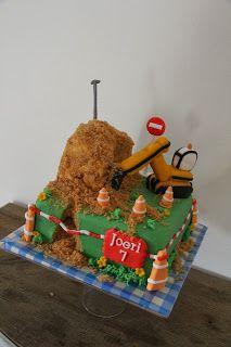 lekker zoet: graafmachine taart voor Joeri 7 jaar