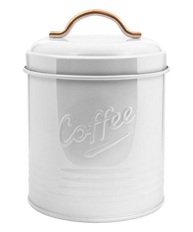 Another great find on #zulily! White Round Metal 'Coffee' Canister #zulilyfinds