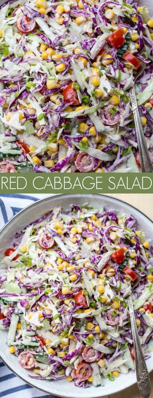Corn Tomato Red Cabbage Salad