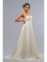 Charmeuse Halter Sweetheart Shirred Bodice Wedding Dress