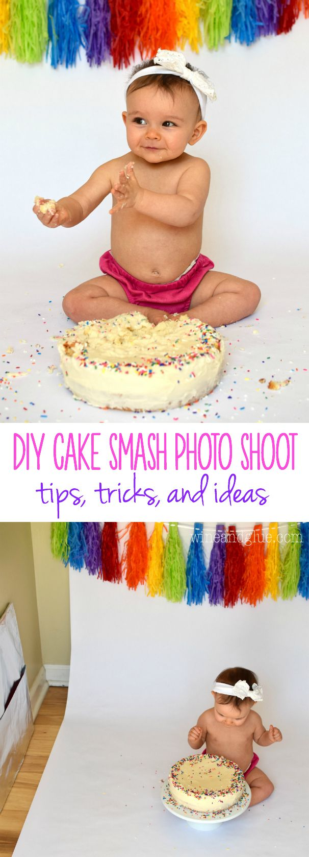 Take those cute pictures of your baby's first birthday and them eating their cake right at home with this DIY Cake Smash Photo Shoot!