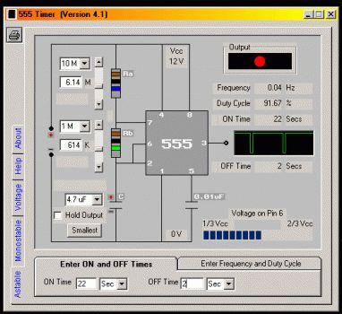 Esse magnifico software para simular o temporizador 555 é um aplicativo de design de software que irá ajudá-lo em seus projetos. Cálculos de valor de componentes para o 555, levando em conta a tensão de alimentação, timer e..