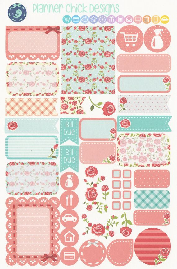 A weekly decorator kit in beautiful Shabby Chic rose patterns.