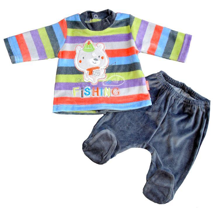 Completo in calda e morbida ciniglia da neonato! #stripes  http://www.allegribriganti.it/neonato/completo-clinica-ciniglia-neonato-yatsi-mod-fishing/