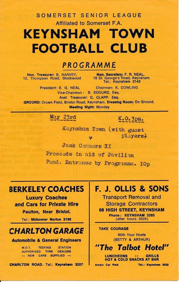 https://flic.kr/p/A9fWH5 | Keynsham Town Football Club Programme 1960s | Old Keynsham Town Football Club programme from 1960s ?. Keynsham Town (with guest players) v Jack Conners XI Ads for Berkeley Coaches of Paulton near Midsomer Norton, Somerset. F.J. Ollis & Sons of 68 High Street, Keynsham. Charlton Garage, Keynsham. Betty & Arthur Tainton of The Talbot Hotel, Keynsham.