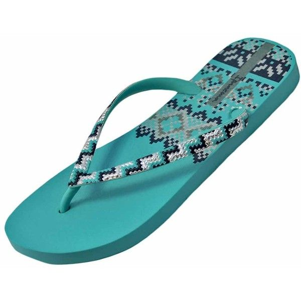 Aqua Green & Silver Ipanema Tribal Pattern Trends Flip Flop ($16) ❤ liked on Polyvore featuring shoes, sandals, flip flops, flip flops women, footwear, green, silver shoes, ipanema flip flops, green flip flops and silver strappy sandals