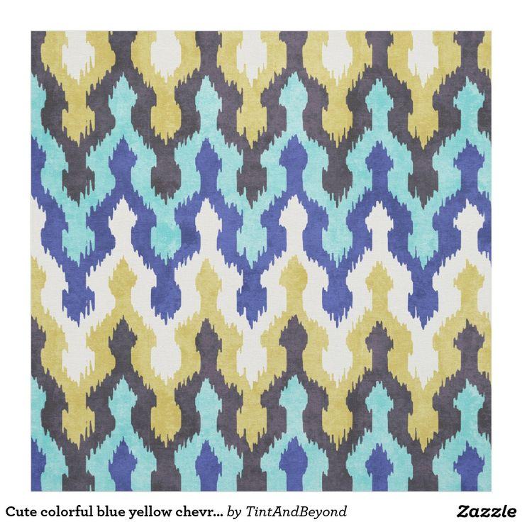 Cute colourful blue yellow chevron ikat pattern fabric