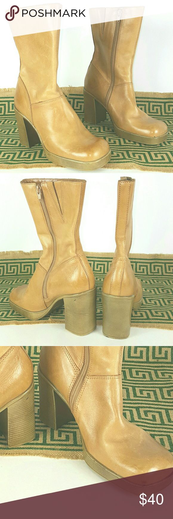 Steve Madden Free Tan Leather Boots, SZ 9.5 Never Worn Steve Madden Free Tan Leather Boots,  Size 9.5, structurally sound with few scuff spots as pictured. Steve Madden Shoes Ankle Boots & Booties