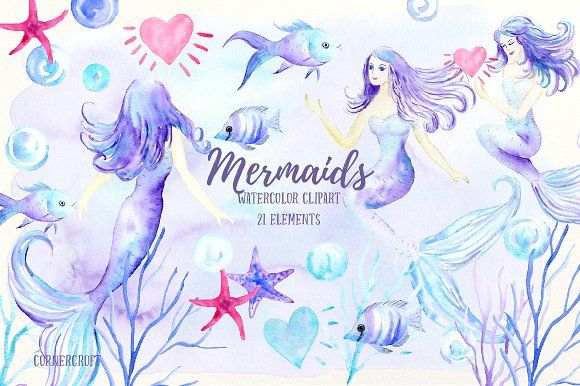 Watercolor Mermaid Clipart by Corner Croft on @creativemarket