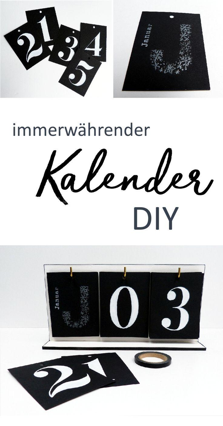 Mach deinen eigenen immerwährenden Kalender mit vintage Ziffern. DIY Anleitung für einen Kalender zum Aufstellen. #kalender