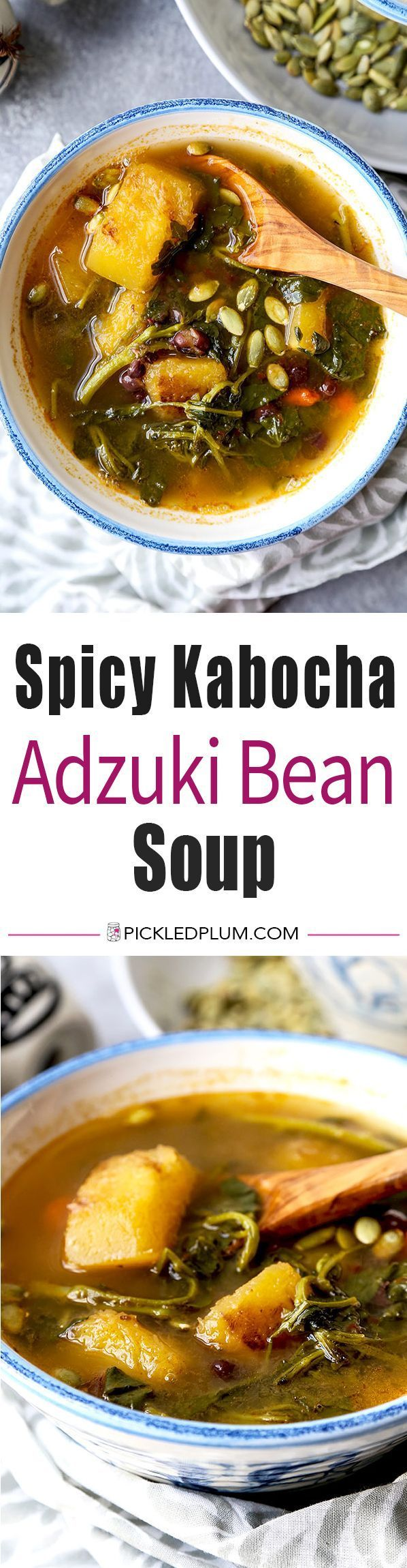 Spicy Kabocha Squash Soup With Adzuki Beans - Soup packed with power foods, super healthy! vegetarian appetizers, soups, healthy soup recipes, Japanese food recipe, adzuki beans recipe, Asian soup | pickledplum.com