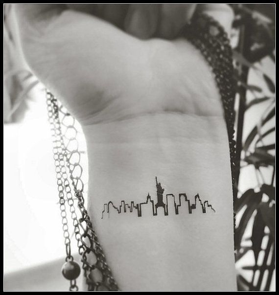 New York skyline tattoo temporary tattoos by SharonHArtDesigns