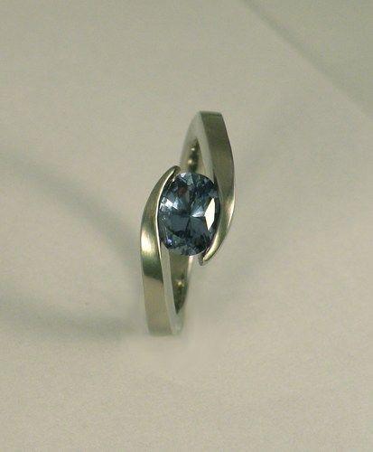six point tension setting jeweler   ... Oval Sapphire Tension Set Ring   brinkjewelry - Wedding on ArtFire
