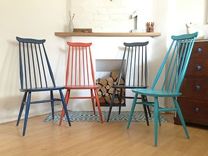 Set of 4 Upcycled Ercol Goldsmith Dining Chairs Vintage Retro